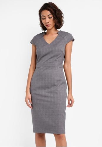 Dorothy Perkins grey Grey V-Neck Crosshatch Dress DO816AA0SKS7MY_1