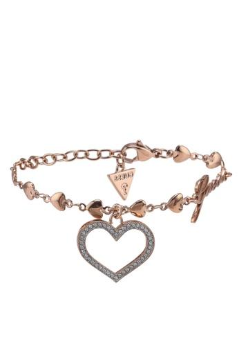 Buy Guess Shine On Me Crystal Heart Frame Charm Bracelet Online ...