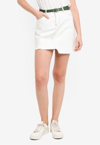 Hopeshow white Frayed Asymmetrical Hem Denim Mini Skirt 883AAAACEE4CF2GS_1