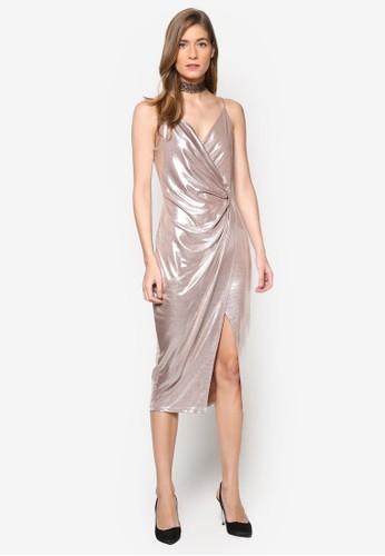 金屬感扭飾esprit tw裹飾細肩帶連身裙, 服飾, 洋裝