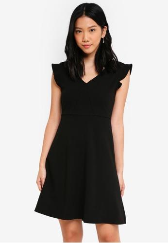 ZALORA BASICS black V Neck Fit & Flare Dress F027DAA658A9D2GS_1