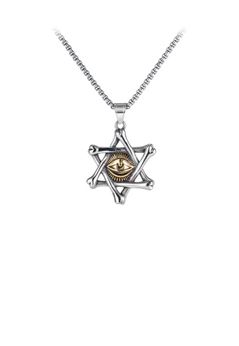 Glamorousky silver Fashion Personality Six-pointed Star Golden Magic Eye 316L Stainless Steel Pendant with Necklace E32A8AC251AF71GS_1