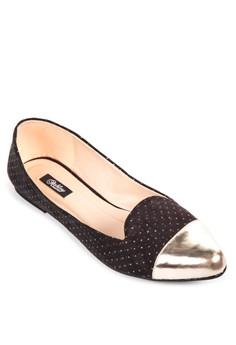 Rachelle Pointed Metallic Toe Cap Ballerina Flats