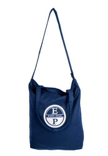 East Pole navy Unisex Two-way Crossbody Cotton and Linen-blend tote bag BA77EACC906DD0GS_1