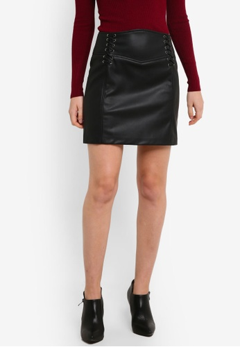 Miss Selfridge black PU Corset Detail Skirt MI665AA0RI2NMY_1