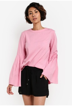 Rikka Lace-Up Bell Sleeve Top