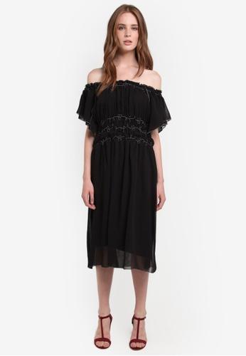 Max Studio black Woven Flutter Off Shoulder Dress MA703AA0RCKBMY_1