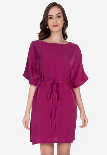 ZALORA WORK purple Batwing Self Tie Dress D95A7AA86F5EF3GS_1
