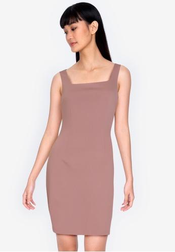ZALORA BASICS brown Square Neck Bodycon Dress 08EB8AAD24A771GS_1