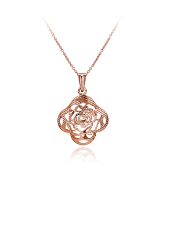 Glamorousky silver Rose Gold Plated Elegant Romantic Fashion Rose Flower Pendant Necklace 7F86AAC930AAE3GS_1
