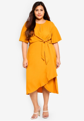 MISSGUIDED yellow Plus Size Tie Front Knot Midi Dress 3D430AA0BDA8ECGS_1