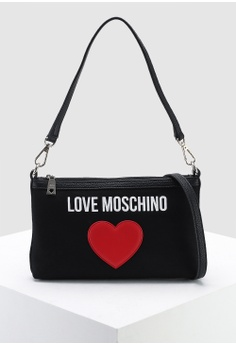 16b24fd6032f Love Moschino black Canvas Sling Bag 86AC5AC05D94AEGS 1