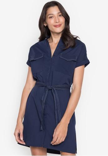 Seventh Cherie blue Extended Sleeves Buttondown Dress BFF73AAB8E8430GS_1