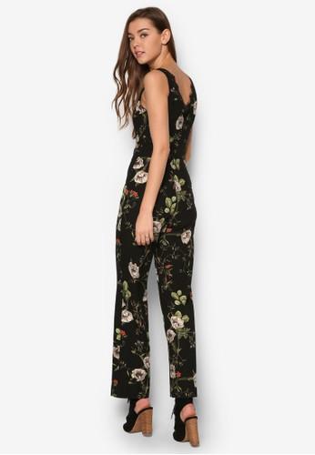 蕾絲邊飾花卉連身esprit台灣outlet長褲, 服飾, 服飾