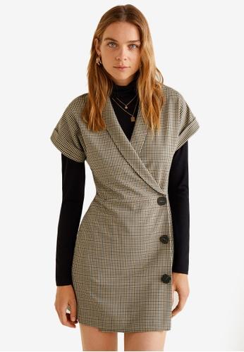 Mango brown Checkered Wrap Dress CD8D7AA90BE29BGS_1