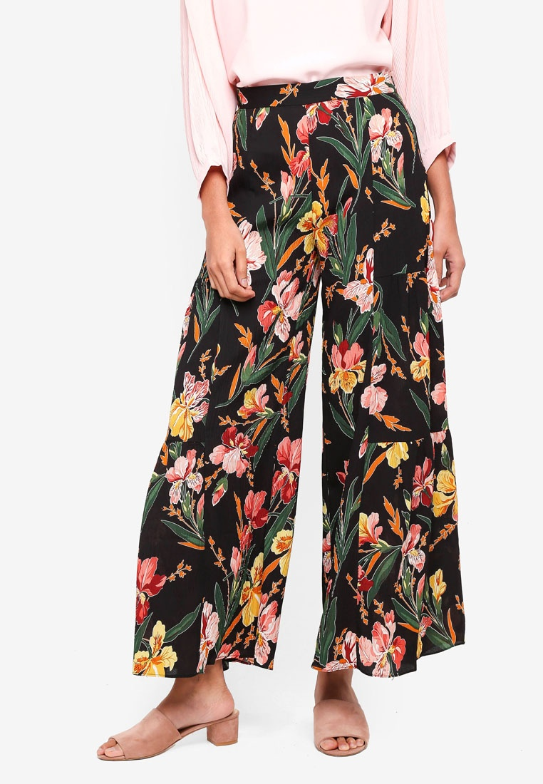 Wide Fusion Black bYSI Floral Trousers 6YqfE8w