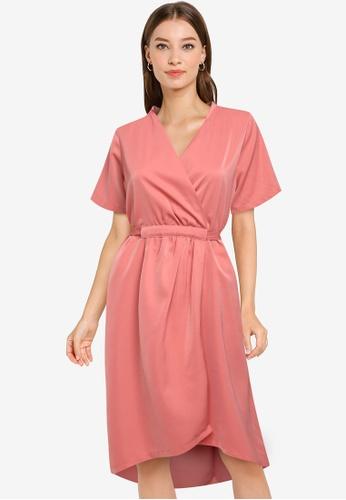 ZALORA WORK pink Gathered Wrap Dress BBACAAA872D329GS_1