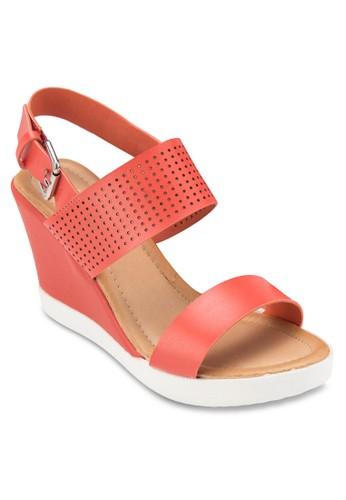 繞踝厚底楔型涼鞋, 女鞋, esprit home 台灣鞋
