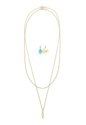 Love 吊飾 925 純銀鍍金項鍊組合, 飾品zalora 台灣門市配件, 項鍊