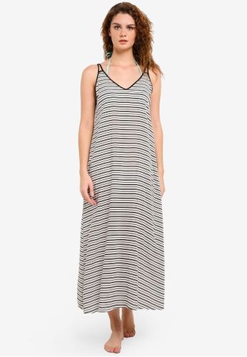 Piha white Shadow Stripes V Neck Beach Dress PI734AA0ROT8MY_1
