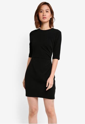 ZALORA black Drape Pleated Dress 10FCDAA366E490GS_1