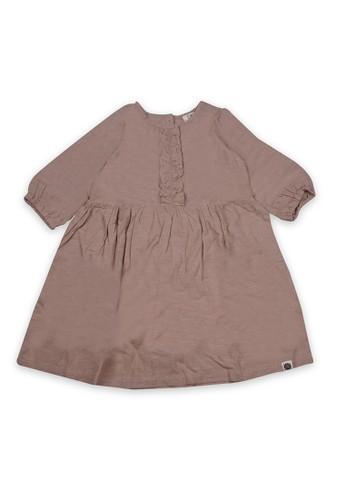 Giordano brown Linen Short Sleeve Dress 3E7A6KA4EAA5EFGS_1