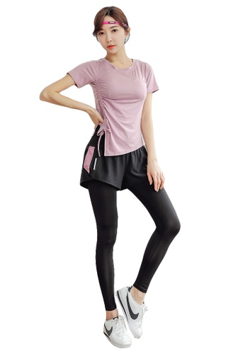YG Fitness multi (2PCS) Quick-Drying Running Fitness Yoga Dance Suit (Tops+Bottoms) 7AE54US8B4CAE7GS_1