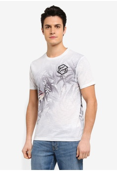 Burton Menswear London white White Floral Print T-Shirt With Chest Print  DD730AA2AD1C71GS_1