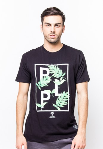 Bloop Tshirt Wl Leaf Black BLP-PF058