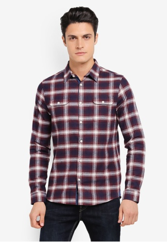 Burton Menswear London red and navy Burgundy Long Sleeve Checkered Shirt BU964AA0SR8AMY_1