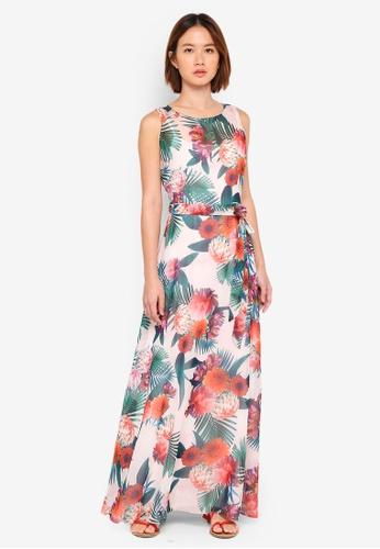 Dorothy Perkins pink Billie & Blossoms Blush Tropical Chiffon Maxi Dress 1AA00AAEC14094GS_1