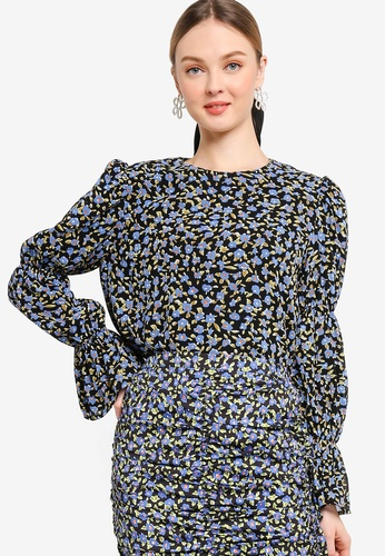 Lubna black and blue LAYERED PUFF SLEEVE TOP 285A7AAEF84295GS_1
