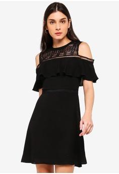 759d52e399 ZALORA black Cold Shoulder Fit And Flare Dress 85D54AAE796194GS 1