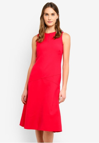 CLOSET red Panel Midi Dress D47FCAA1C54227GS_1