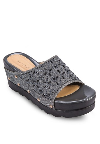 鉚釘閃飾寬帶楔形鞋,esprit 鞋 女鞋, 楔形涼鞋