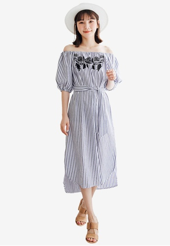 Tokichoi navy Striped Off Shoulder Dress 467A1AAEAD02E1GS_1