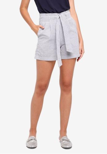 WAREHOUSE black Stripe Tie Front Shorts E1F63AAFA74D4CGS_1