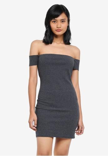 Something Borrowed grey Off Shoulder Bodycon Dress 1D614AAC5A881EGS_1