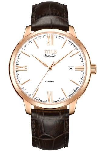 Solvil et Titus black and gold Sonvilier Men's Automatic Watch in White Dial and Brown Leather Strap 9B198ACAA1FAB3GS_1