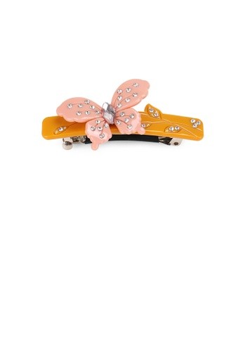 Glamorousky white Simple and Elegant Butterfly Orange Hair Slide with Cubic Zirconia C8863ACA5E5865GS_1