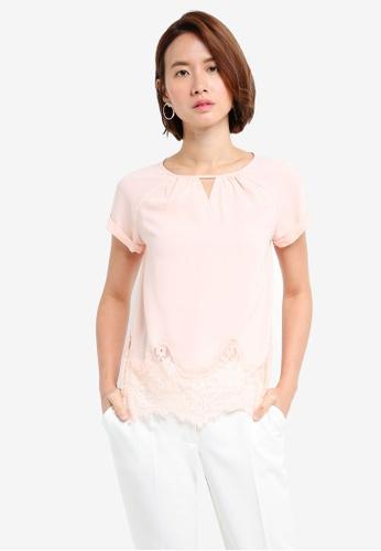ZALORA pink Applique Lace Hem Top 33A92AA3AAA548GS_1