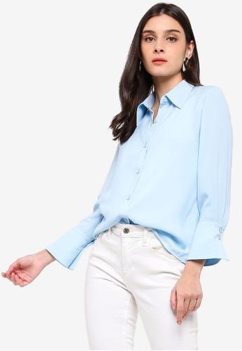 ZALORA blue Oversized Collar Shirt 5075EAA1E20AB6GS_1