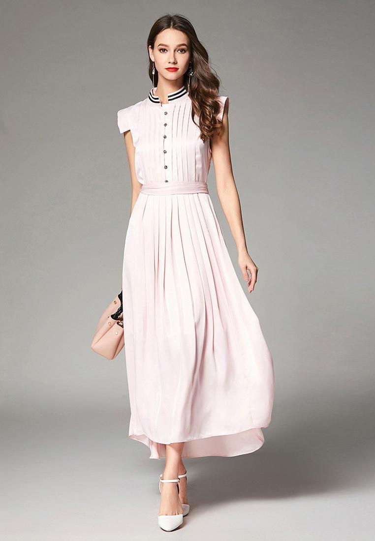 CA062940PI Sunnydaysweety 2018 One New Dress Neck Sleeveless Pink Crew Pink Piece Pn7zP8xS