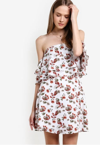 ZALORA white Love Double Layered Ruffle Off Shoulder Dress 42E9BAA2948903GS_1