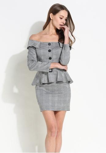 Sunnydaysweety grey Plaids Off Shoulder Peplum One Piece Dress CA012505 5F12DAA7F3B060GS_1