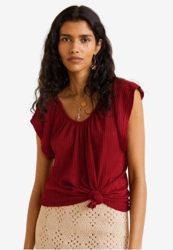 Mango 紅色 Ribbed Knit Top FB98BAA3EF658EGS_1