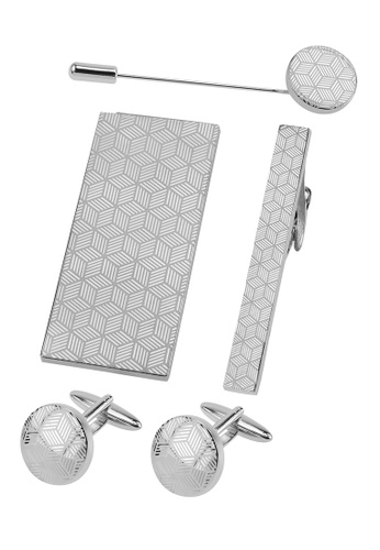 CUFF IT silver Laser Engraved Quadrilateral Cufflinks Tie Clip Money Clip Lapel Pin Sets 28FD5AC4301058GS_1