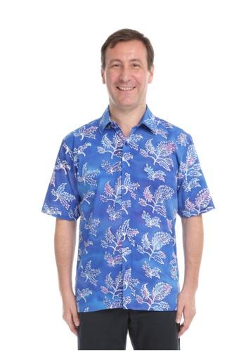 AYAYU white and blue and purple DAUN Men Short Sleeves Batik Shirt - Blue Purple 20355AABFED613GS_1