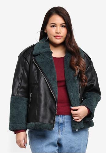 MISSGUIDED black Plus Size Premium Colour Block Sherling Aviator Jacket 4B965AA8615577GS_1