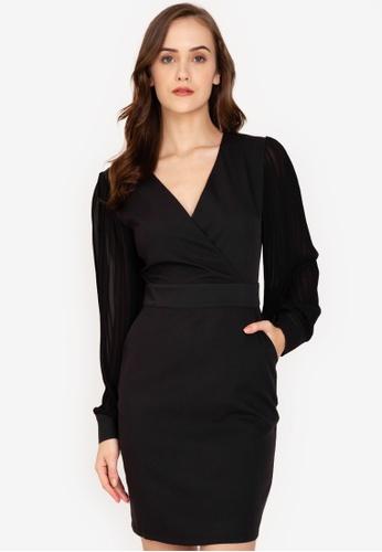 ZALORA WORK black Pleated Sleeves Dress F1762AAC33957CGS_1